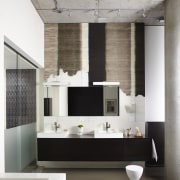 Designer distressed wallpaper hung behind the vanity brings floor, flooring, furniture, interior design, living room, wall, gray