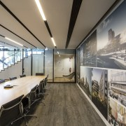 Walls in Warren and Mahoneys main boardroom display interior design, gray