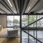 The earthquake-resistant interiors in Warren and Mahoneys new architecture, daylighting, house, interior design, real estate, roof, window, gray, black