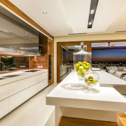 In this new kitchen, the long lines on interior design, yacht, white, brown