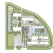 This site plan shows the leisure and recreational elevation, floor plan, land lot, mixed use, neighbourhood, plan, real estate, residential area, urban design, white