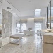 Guest suite bathrooms at Como The Treasury are architecture, countertop, estate, floor, flooring, interior design, real estate, tile, gray