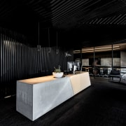 Rugged with a touch of residential  black architecture, interior design, lobby, black