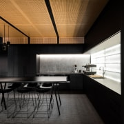 On this fit-out of an architectural firms own architecture, ceiling, countertop, daylighting, house, interior design, kitchen, loft, product design, black