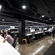 In the new fit-out for Hillam Architects, workstations black