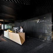 In this fit-out of Hillam Architects own studio, architecture, ceiling, interior design, lobby, black