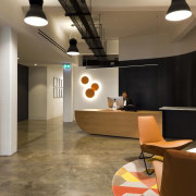 For the fit-out of its modern-look offices in ceiling, flooring, interior design, lobby, brown
