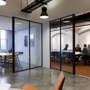 Glass-fronted meeting rooms in this office fit-out are ceiling, interior design, lobby, loft, real estate, gray