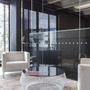 Glass privacy walls were part of the Glassforce architecture, floor, interior design, window, gray, black
