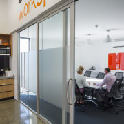 At the new OfficeMax shop, fully functioning office door, interior design, office, real estate, window, gray