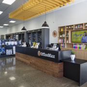 Together with every possible office product, OfficeMax offers interior design, lobby, gray