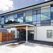 :The brand new maternity wing at Whangarei Hospital architecture, building, facade, home, house, property, real estate, window, white
