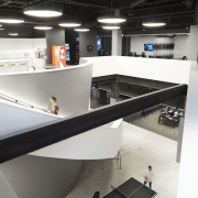 As part of the fit-out for Havas Chicago, architecture, furniture, interior design, product design, table, black, white