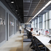 Communal desking and an absence of internal partitioning interior design, office, product design, black, gray