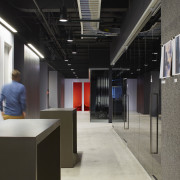 Most wall surfaces on the Havas Chicago fit-out interior design, black, gray