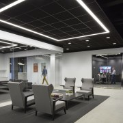 Walling these advertising studio meeting rooms in glass ceiling, interior design, office, product design, black, gray