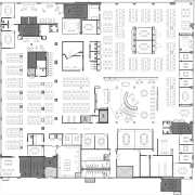 As this third floor plan at Havas Chicago architecture, area, black and white, design, drawing, floor plan, font, line, plan, product design, schematic, square, technical drawing, text, white
