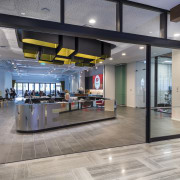 At 2 Graham St, the star tenant NZMEs floor, interior design, lobby, real estate, gray