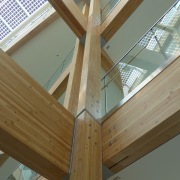 Glulam column and beam structures in buildings up angle, architecture, beam, daylighting, floor, glass, handrail, hardwood, home, house, lumber, roof, stairs, structure, window, wood, wood stain, brown, gray