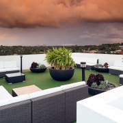 Room at the top  the greenery at apartment, home, interior design, property, real estate, roof, table, white