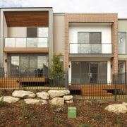 Sermi-detached homes at Putney Hill negotiated the sloping building, elevation, facade, home, house, neighbourhood, property, real estate, residential area, siding, window, brown, white