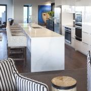 The clean white designer kitchen in this Hopetoun countertop, interior design, kitchen, real estate, gray
