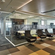 As part of the naming tenants fit-out in ceiling, floor, flooring, interior design, lobby, office, real estate, gray, brown