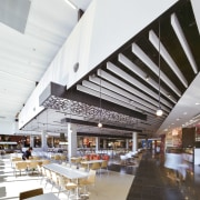 A state-of-the-art food hall is at the heart ceiling, daylighting, interior design, mixed use, white, gray