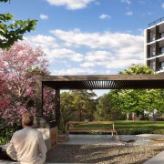 Peak Apartments stand on the highest point in architecture, flower, plant, property, real estate, residential area, spring, tree, brown