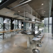 Nearly everything in this interior was custom designed, architecture, interior design, lobby, gray, black