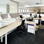 Commercial furniture specialist Crestline supplied the furniture and desk, floor, flooring, furniture, interior design, office, product design, white, black
