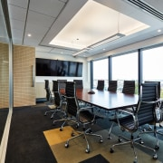 Workstation systems, storage, task and meeting seating were ceiling, conference hall, interior design, office, real estate, gray, black