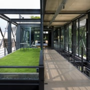 A private roof garden connects to the master architecture, house, real estate, window, black