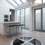 Glass above and glass below  this kitchen architecture, daylighting, house, interior design, product design, table, window, gray