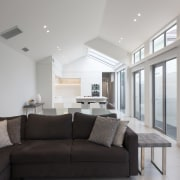 The long view  this kitchen looks good ceiling, daylighting, floor, home, house, interior design, living room, property, real estate, room, window, gray