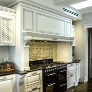 This kitchens country sensibility extends to the cabinetry cabinetry, countertop, cuisine classique, home appliance, interior design, kitchen, room, under cabinet lighting, gray, white