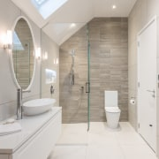 A glass showerstall maximises the sense of space architecture, bathroom, home, interior design, product design, property, real estate, room, gray