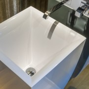 Even the interior of the Gessi basin has angle, bathroom sink, ceramic, plumbing fixture, product design, sink, tap, gray, brown
