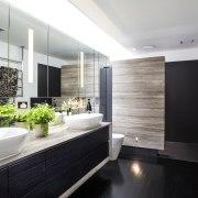 In this bathroom by designer Jason Saunders dark-veined architecture, bathroom, countertop, interior design, room, white, black