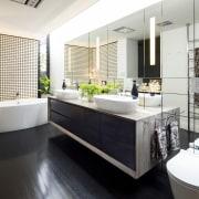 Dark and white tones create a crisp, modern bathroom, countertop, interior design, product design, room, sink, white, gray, black