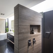 In pursuit of privacy, the front wall of bathroom, interior design, product design, room, gray, black, white