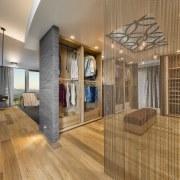Hosowari tile that forms the bedhead wall wraps ceiling, floor, flooring, hardwood, interior design, lobby, real estate, wood, wood flooring, brown, orange