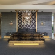 Underlighting this bed and the beside tables creates ceiling, floor, flooring, furniture, interior design, lobby, black, gray