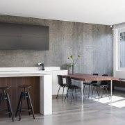 In this kitchen addition by designer Darren Genner cabinetry, countertop, cuisine classique, floor, flooring, furniture, interior design, kitchen, room, table, white, gray