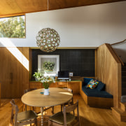 The tones of the wood pantry continue into architecture, ceiling, dining room, home, house, interior design, living room, real estate, room, wood, brown