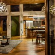 American oak floors  and plywood ceilings are architecture, flooring, furniture, interior design, room, table, wood, brown, orange