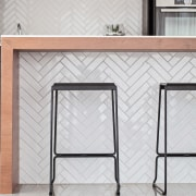 Piece by piece  the matching herringbone tiles floor, furniture, glass, product, product design, shelf, shelving, table, wall, gray, white