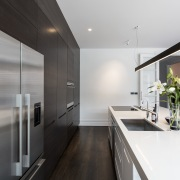 For the chefs eyes only  the rear architecture, countertop, house, interior design, kitchen, white, gray, black