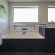 Appealing subway tilework and a colourful wall decal bathroom, home, interior design, room, sink, window, gray, black