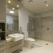 Modern bathrooms, with state-of-the-art showers, non-slip surfaces and bathroom, home, interior design, property, real estate, room, sink, brown